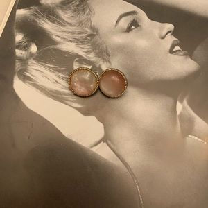 Vintage Rose Quartz Clip On Earrings
